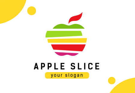 Abstract color slice apple. Logo concept for healthy lifestyle or agricultural company.