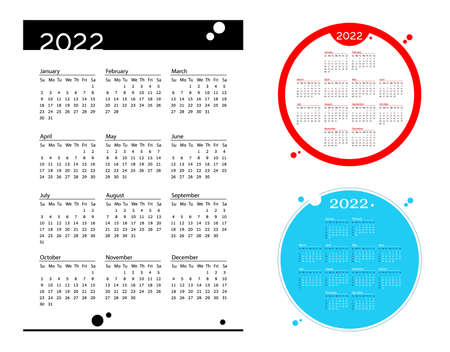 Set Simple pocket calendar 2022 year on white Background. Blue and red circle calendar