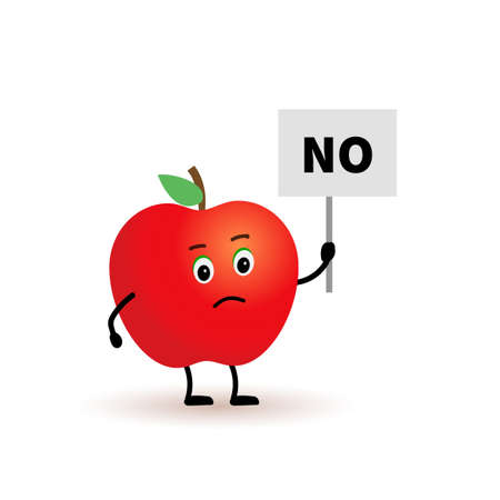 Cartoon character apple, holding a sign with the word NO. apple character protests against it.