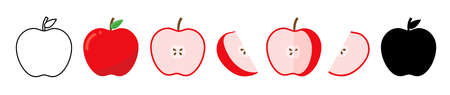 Set of red apple whole and ripe. Apple half and slice.