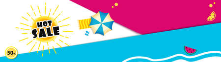 Bright Sale banner template design with summer sun. motion Text Hot sale. yellow sun 矢量图像