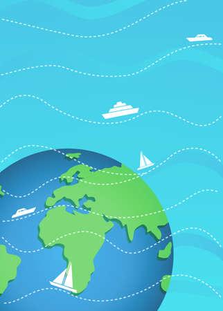 Poster Tourist travel around the world. international cargo transportation.