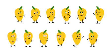 yellow Lemon smiles, rejoices, is sad, is angry, is surprised, is angry. 矢量图像