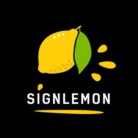 Ripe yellow lemon with leaf. Logo concept for healthy food 矢量图像