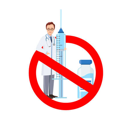 Doctor with a syringe in stop circle. No Vaccine. Circle Sign danger. 矢量图像
