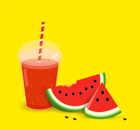 watermelon smoothie in a plastic cup. Realistic plastic glass with red juice