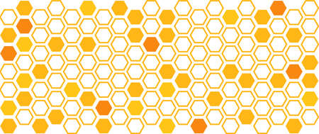 Abstract orange background with hexagon grid cell on white backdrop.
