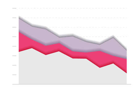 Paper graph, red and grey curve go down. concept of business decline