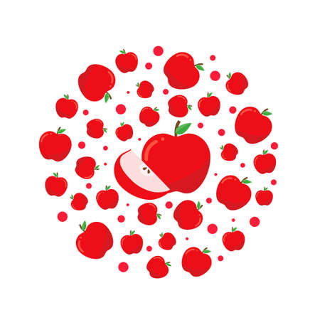 Circle pattern with red apples. Bright design for printing on plates.
