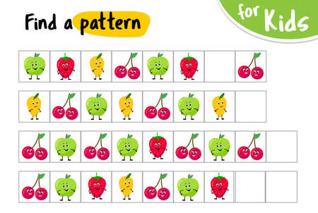 Find a pattern. Continue the sequence. kids game. educational game for small children.