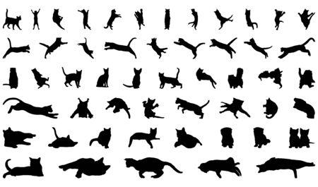 Vector conjunto de gatos negros sobre un fondo blanco.