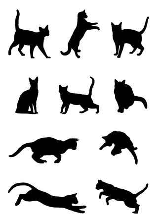 Vector set of cats, black image on white background.