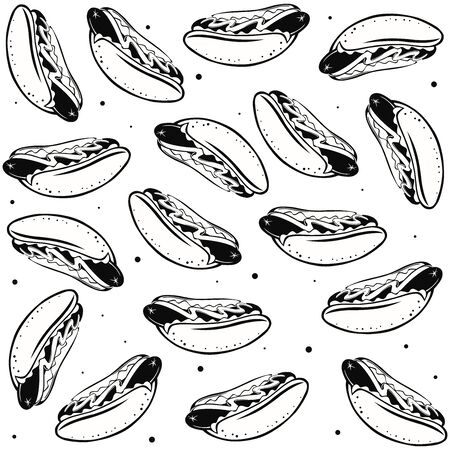 Black and white seamless pattern with hot dogs. Vector graphics.