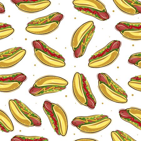 Color and bright seamless pattern with hot dogs. Vector graphics.