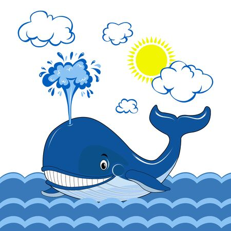 A blue whale swims in the sea. Whale day. The clouds and the sun. Vector graphics.