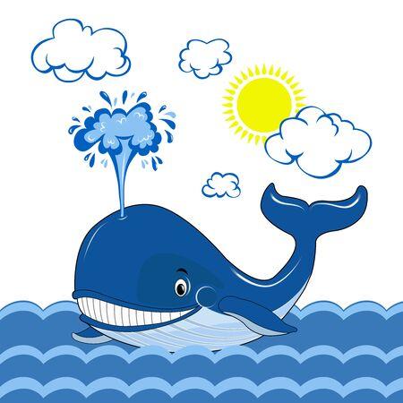 Una balena blu nuota nel mare. Giornata della balena. Le nuvole e il sole. Grafica vettoriale.