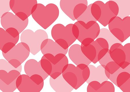 Valentines day card. Postcard background of pink hearts. Vector graphics.