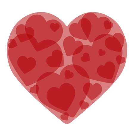 Valentines day card. Translucent red heart. Vector graphics. Иллюстрация