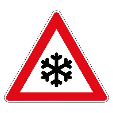 Snowy winter road. Road sign of Germany. Vector graphics.