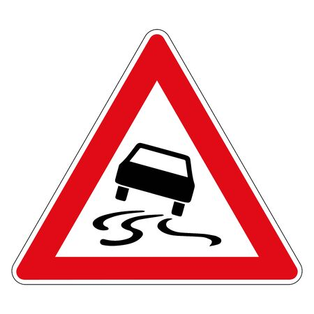 Danger of skidding or slipping due to humidity or dirt. Road sign of Germany. Vector graphics.