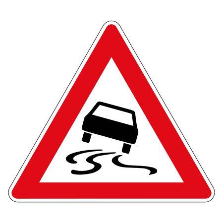 Niebezpieczeństwo poślizgu lub poślizgu z powodu wilgoci lub brudu. Znak drogowy z Niemiec. Grafika wektorowa.