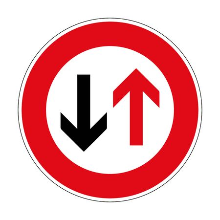 Advantage of oncoming traffic. Road sign of Germany. Europe. Vector graphics.