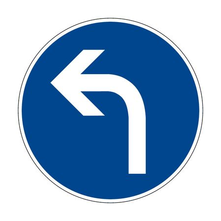 Movement to the left. Road sign of Germany. Europe. Vector graphics.