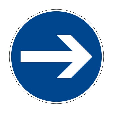 Here on the right. Right turn. Road sign of Germany. Europe. Vector graphics. Banque d'images - 139215782