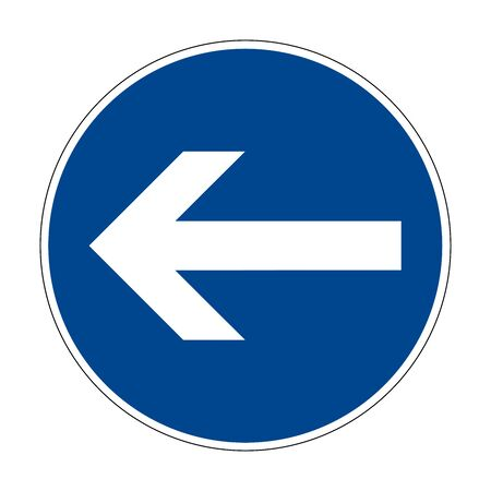 Turn left here. Left turn. Road sign of Germany. Europe. Vector graphics.