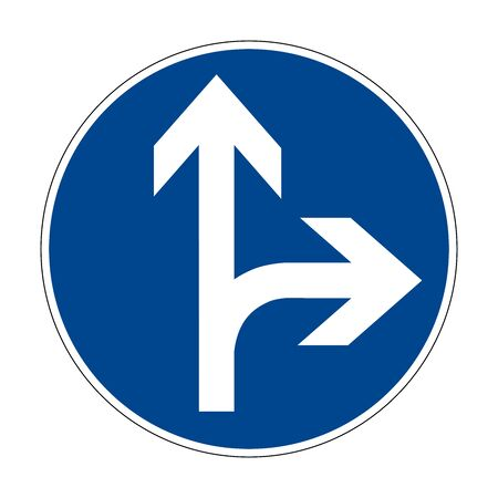 Move right or right. Movement to the left is prohibited. Road sign of Germany. Europe. Vector graphics. Banque d'images - 138877798