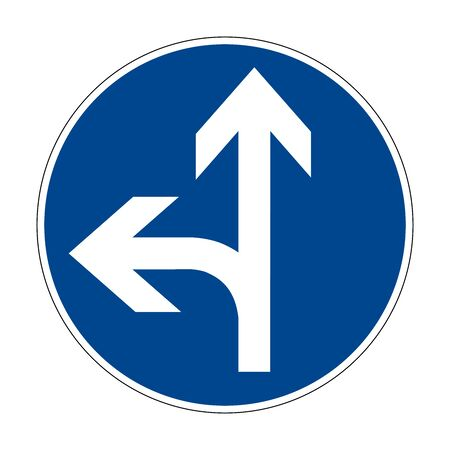 Move right or left. Right-hand traffic is prohibited. Road sign of Germany. Europe. Vector graphics. Illustration