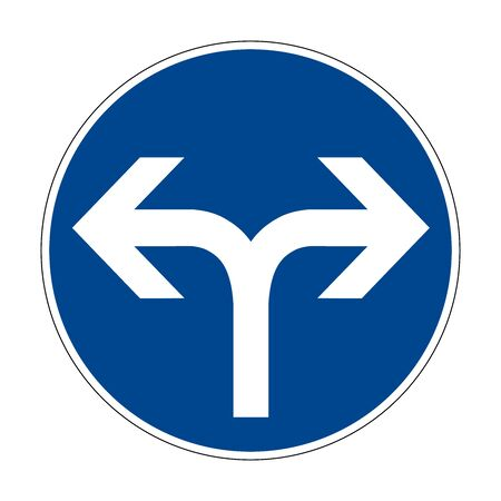 Movement to the right or left. Traffic is strictly prohibited. Road sign of Germany. Europe. Vector graphics.
