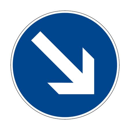 Move right or right. Movement to the left is prohibited. Road sign of Germany. Europe. Vector graphics. Illustration