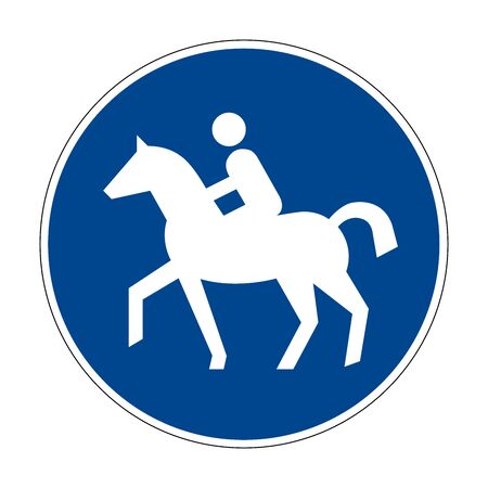 Horse riding track. Road sign of Germany. Europe. Vector graphics.