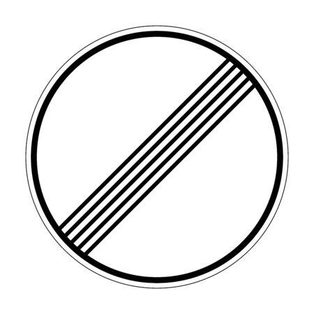 Fin de todas las prohibiciones y restricciones. Señal de tráfico de Alemania. Europa. Gráficos vectoriales.