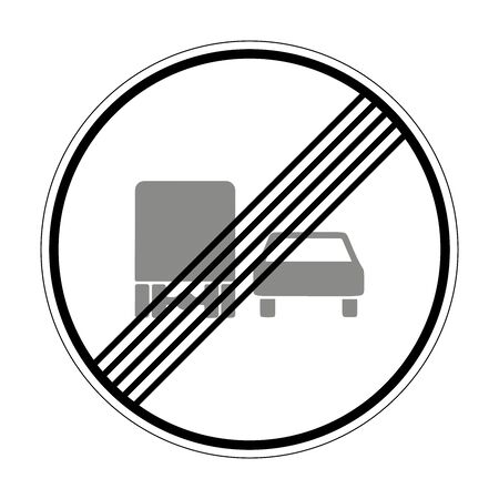 End of overtaking ban for vehicles over 3.5 tons. Road sign of Germany. Europe. Vector graphics. Illustration