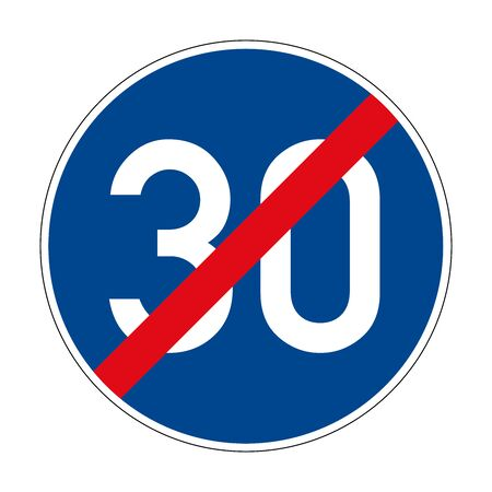 End of the prescribed minimum speed. End of the restriction zone. Road sign of Germany. Europe. Vector graphics.