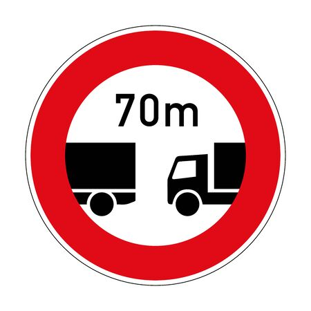 Ban on driving with a distance less than specified. Mandatory distance. Road sign of Germany. Europe. Vector graphics.