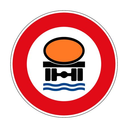Prohibition for vehicles with cargo dangerous to water resources. Prohibition for vehicles loaded with dangerous liquids. Road sign of Germany. Europe. Vector graphics. Ilustrace