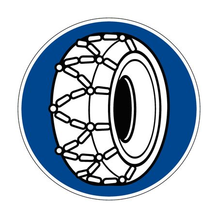 The use of snow chains is prescribed. Snow chains are required. Road sign of Germany. Europe. Vector graphics.