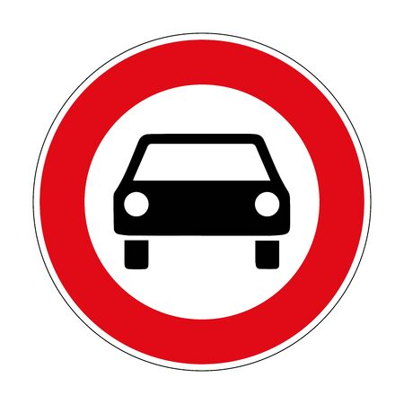 Prohibition for cars. Road sign of Germany. Europe. Vector graphics. Illustration