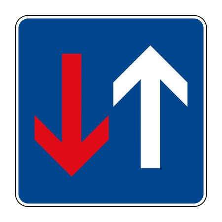 Advantage over oncoming traffic. Road sign of Germany. Europe. Vector graphics.