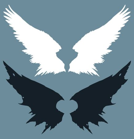 Angel and devil wings on a blue background. The wings of a bird. Fantasy. Vector graphics.