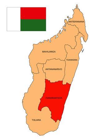 Map of the island of Madagascar. The Province Of Fianarantsoa. Flag of the Republic of Madagascar. Island state. Antananarivo. Antsiranana. Mahajanga. Toamasina. Toliara. Vector graphics. Иллюстрация