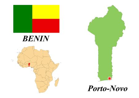 Republic of Benin. The Capital Of Porto-Novo. Flag Of Benin. Map of the continent of Africa with country borders. Vector graphics.