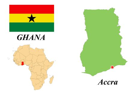 Republic of Ghana. Capital Of Accra. Flag Of Ghana. Map of the continent of Africa with country borders. Vector graphics.