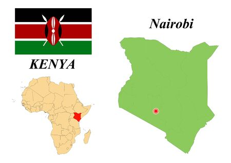 Republic of Kenya. Capital Of Nairobi. Flag Of Kenya. Map of the continent of Africa with country borders. Vector graphics.  イラスト・ベクター素材