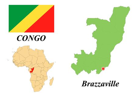 Republic of Congo. The Capital Is Brazzaville. Flag Of The Republic Of The Congo. Map of the continent of Africa with country borders. Vector graphics.