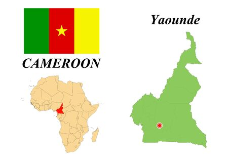 Republic of Cameroon. Capital Of Yaounde. Flag Of Cameroon. Map of the continent of Africa with country borders. Vector graphics.