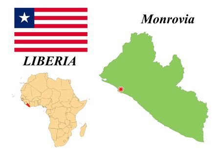 Republic of Liberia. Capital Of Monrovia. Flag Of Liberia. Map of the continent of Africa with country borders. Vector graphics.  イラスト・ベクター素材